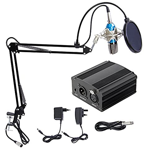 Professional Condenser Microphone XLR to 3.5mm Podcasting Studio Recording Condenser Microphone mic Kit Computer mics with 48V Phantom Power Supply and EU AC Plug Converter