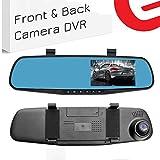 Ezonetronics de Voiture Enregistreur vidéo Full HD 1080p   Auto Véhicules Avant et écran LCD rétroviseur avec Double Objectif   DVR véhicule Dash Cam