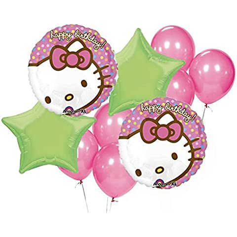 Hello Kitty Birthday Party Balloon Package -Includes (2)18 Round Mylar (2)20 Green Star Mylar (6)12 Pink Latex by Anagram - Hello Kitty Birthday Party Balloons