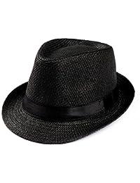 Amlaiworld Gorras Gorras de Hombre Mujer Unisex Trilby Gangster Mujer  Hombre Sombrero de Paja de Sol de Playa Banda Sombrero para… d58a4c1d253e