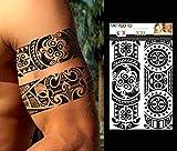 TATTOO ID XXL POLYNESIEN tribal maori tatouage éphemere temporaire hypoallergénique Fabriqué en FRANCE 1 planche 22cm x 14,5cm Homme