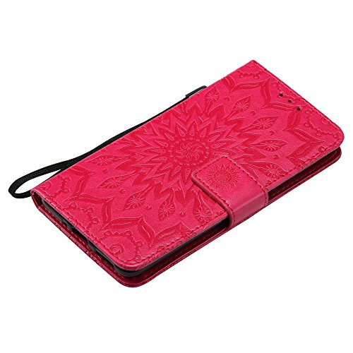 Embossing Sonnenblumenmuster horizontale Flip Stand Case Wallet Pouch Cover mit Lanyard für Nokia 5 ( Color : Gray ) Red