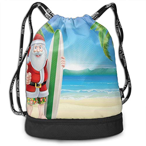 WCMBY Sports Gym Sack Printed Drawstring Backpacks Bags,Santa Claus with Trunks On The Beach and Surfboard Sunny Hot Christmas Theme,Adjustable String Closure for Unisex