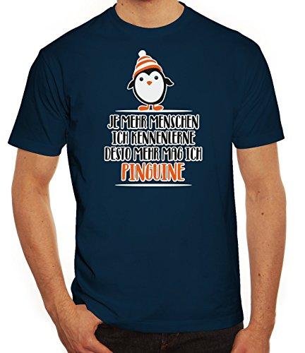 Pinguin Tierfreund Herren T-Shirt mit Menschen - Pinguine Motiv von ShirtStreet Dunkelblau