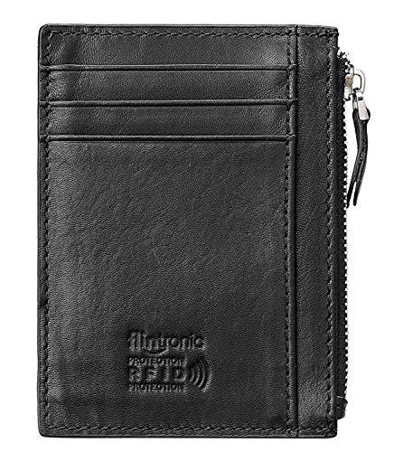 flintronic Portia Carte di Credito e Tasche Pelle, Ultrasottile 0.2cm RFID/NFC Blocco Portafoglo (Aggiorna la versione)(#8 nero con cerniera sottile 0.2cm)
