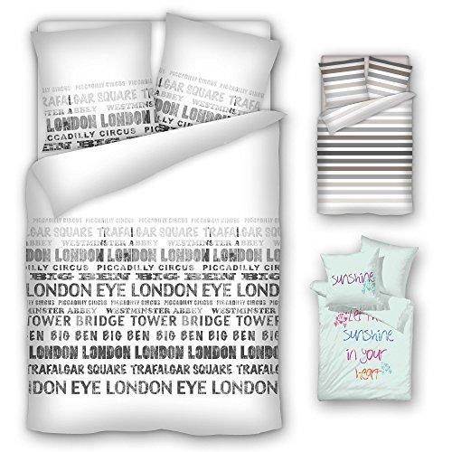 Bettwäsche, Baumwolle, Renforce, 135x200 cm, 80x80 cm, Reißverschluss, Öko-Tex Standard 100, London, Great Britain, Großbritanien, England, Schriftzug,