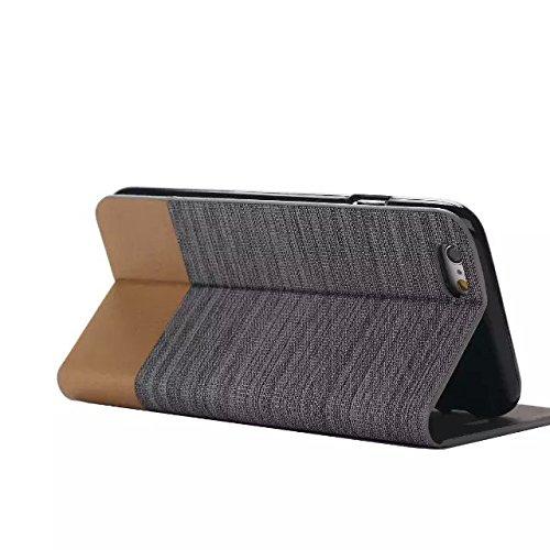 Mixte Motif Couleur Case, Canvas PU étui en cuir Support Case avec fente pour carte de couverture de silicone TPU souple pour iPhone 6 6S ( Color : 2 , Size : IPhone 6S 6 ) 3