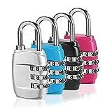 Kombination Vorhängeschloss, (4 Pack 4 Farbe) 3-stellige Gepäck Lock...