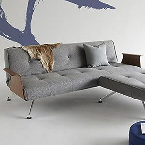 Innovation Schlafsofa mit Chrombeinen und Armlehnen Clubber Textil grau