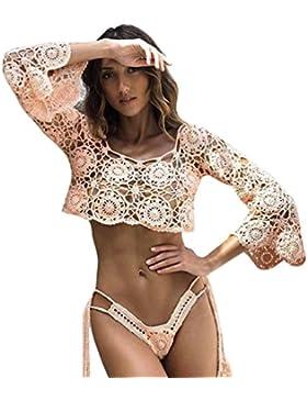 Yiiquan Mujeres Elegantes Encajes de Ganchillo Sheer Hollow Out Crop Top Party Camiseta Ropa de Playa