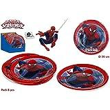 Colorbaby, 71902, pack 8 platos spiderman para fiestas y cumpleaños. diametro 20 cm