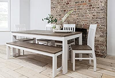 Hever Dining Table with 5 Chairs & Bench in White and Dark Pine