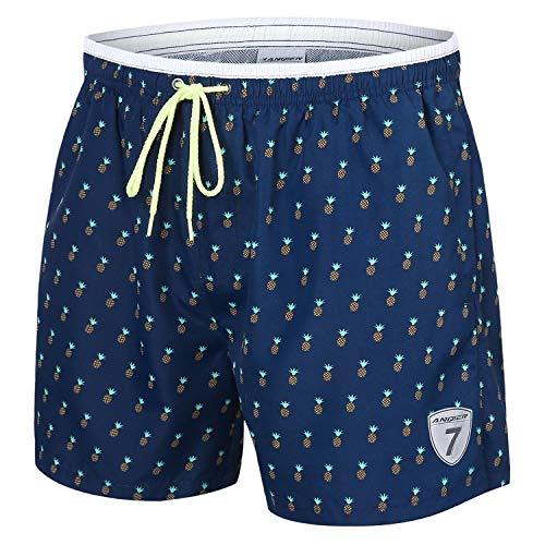 anqier Badehose für Herren Badeshorts für Männer Jungen Schnelltrocknend Schwimmhose Strand Shorts (Königsblau Ananas, L)