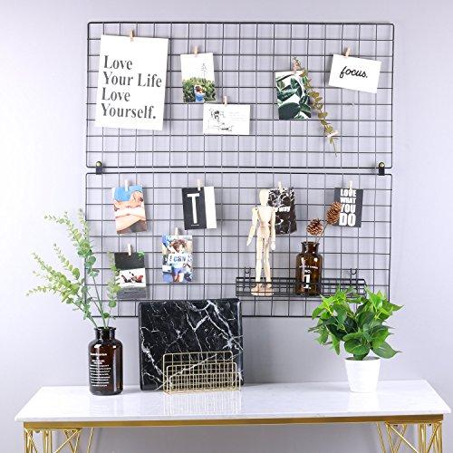 kufox Multifunktions Metall Mesh-Gitter Panel, Wall Decor/Foto/Art Wand Display & Organizer, Pack von 2Pcs, Größe: 45x 950cm/45x 95cm, Schwarz -