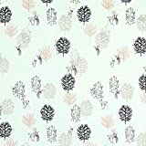 Fabulous Fabrics Alpenfleece Rehe im Wald - mintgrün -