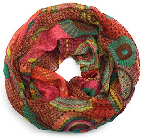 Intermoda - Bufanda para mujer, pañuelo ligero para el cuello, primavera, puntos, círculos, étnico, flores, rojo, rojo oxidado, azul petróleo