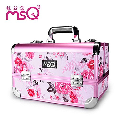 Meydlee Makeup Train Cases Alumi Essential Pro Cosmetic Case Pink Floral Pattern Make Up Artist Organizer Kit With Adjustable Dividers 4 Trays & Key Lock Designed To Fit All Cosmetics