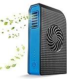 Iashion Mini Persönlicher USB-Ventilator, Abkühlender Belüftungs-Abluft, Umluftventilator, Blattlose Energie-Bank mit 3 Geschwindigkeiten 6000Mah,Black