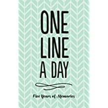 One Line A Day Journal: Five Years of Memories, 6x9 Diary, Dated and Lined Book, Green Pattern