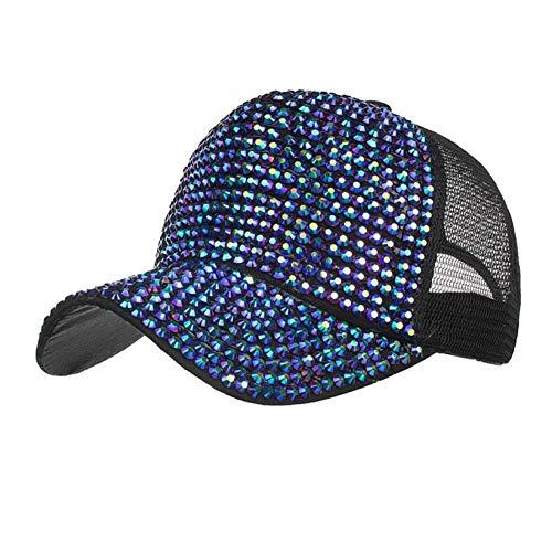 Yosrab Women Rhinestone Hat Girls Summer Breathable Mesh Hip Hop Dance Baseball Caps Womens Vintage-pink Camo