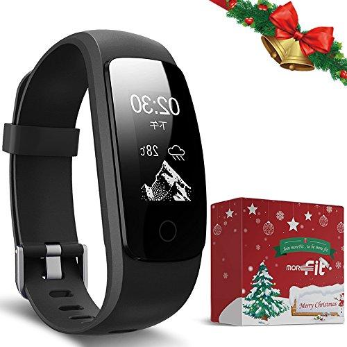 Weihnachtsgeschenke Fitness Tracker mit Pulsmesser, moreFit Slim Touch HR Wasserdichter Aktivitätstracker Wearable Smart Armband Schrittzähler für Männer/Mädchen/Jungen