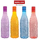 Nirlon Thunder Water Bottle Set, 1 Liter, Set of 4, Multicolour