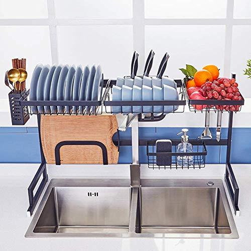 Xue-Shelf Geschirrtrockner über Waschbecken, Abtropffläche Regal für Küchenbedarf Lagerung Zähler Veranstalter Utensilien Halter Edelstahl Display Regal