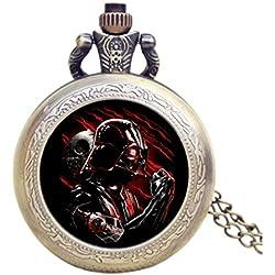 Star Wars Darth Vader rojo efecto de bronce antiguo Retro/Vintage caso hombres de cuarzo reloj de bolsillo collar–en 32pulgadas/80cm cadena