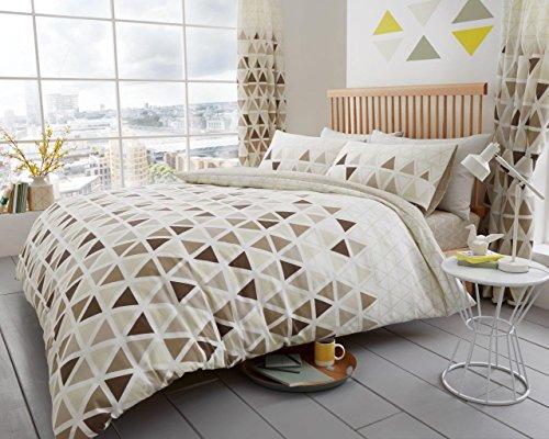 Lifestyle Produktion @ Geo Dreieck bedrucktes Design reversibel Polycotton Bettwäscheset, Bettbezug mit Kissen Fall Bettwäsche-Set, Geo Triangle-Natural / Choco, Doppelbett (Choco-bettwäsche-set)