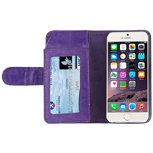 Phone case & Hülle Für iPhone 6 / 6S, Crazy Horse Texture Wallet Style Ledertasche mit Card Slots ( Color : Purple ) Purple