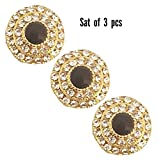 #9: A'SHOP Super Amazing beautiful daimond ring golden Buttons( Set Of 3)