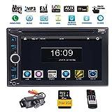 EINCAR Auto Radio Double Din Bluetooth 7 Pouces Autoradio écran Tactile Full HD 1080P Télécommande IR/FM/AM/RDS/TF/USB/GPS avec 8 Go Carte/Lecteur DVD de Voiture CD stéréo avec caméra de recul