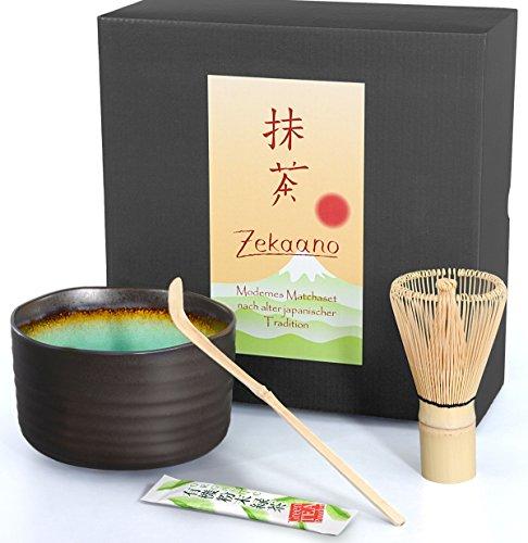 Matcha-Set 3-teilig, anthrazit/türkis, bestehend aus Matcha-schale, Matcha-löffel und Matcha-besen (Bambus) in Geschenkbox. Original Aricola®