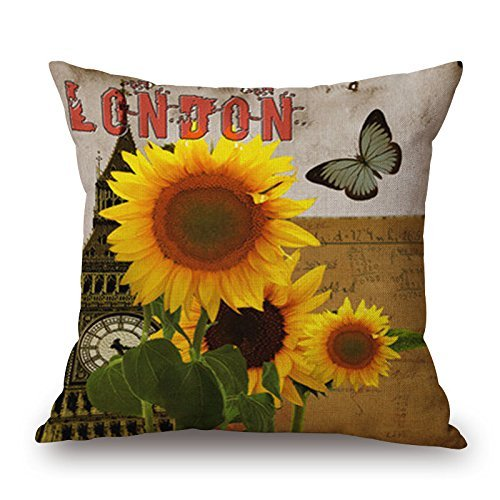 Harry wang Home Office Decorative Cotton Linen Square Throw Pillowcase Cushion Cover Pillow Shams Vintage Butterfly Flower-Pattern,45x45cm -