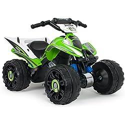 INJUSA - Quad Kawasaki ATV, Estable y Resistente de batería 12V con Bandas de Goma en Las Ruedas (66055)