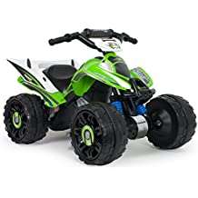INJUSA - Quad Kawasaki ATV, Estable y Resistente de batería 12V con Bandas de Goma