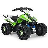 INJUSA-Quad Kawasaki ATV, Stabile E Resistente di Batteria 12V con Bande di Gomma nelle Ruote (66055)