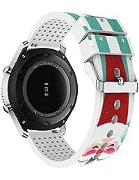 Correa de reloj 22mm, happytop Navidad pulsera de silicona correa de muñeca de repuesto para Samsung Gear S3Classic, hombre, verde, S