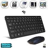 "Negro Wireless Mini teclado y ratón fácil mando a distancia para SAMSUNG Panasonic tx-55ez952b 55""Smart TV"