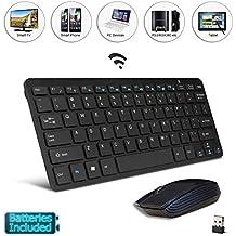 """Teclado y ratón de ordenador, negros, con mando a distancia, compatible con SAMSUNG LG 43UJ634V de 43"""" Smart TV"""