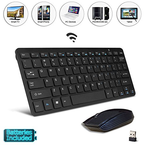 Mini tastiera wireless nera e mouse, facile controllo, telecomando per Youtube, Browser per Sharp Aquos LC-49CUG8052K 49'