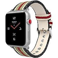 MoKo Armband für Apple Watch Series 3 / 2 / 1 38mm, Leinwand Replacement Uhrenarmband Sportarmband band Erstatzband mit Schließe für Apple Watch Nike+ 38mm 2017, Schwarz & Weiß & Braun & Rot