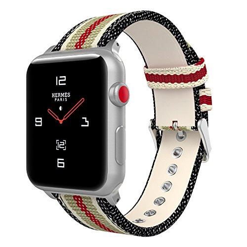 MoKo Apple Watch Series 3 / 2 / 1 38mm Armband, Leinwand Replacement Uhrenarmband Sportarmband band Erstatzband mit Schließe für Apple Watch Nike+ 38mm 2017, Schwarz & Weiß & Braun & Rot