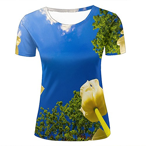 ouzhouxijia Mens 3D Print T-Shirts Beautiful Yellow Tulips Graphic Couple Tees C