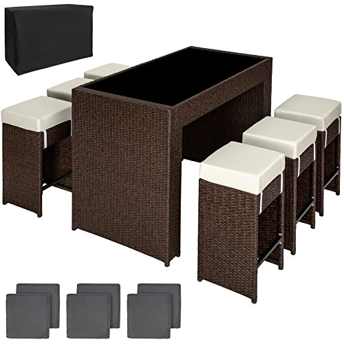 Metall-set Bar Stuhl (TecTake Luxus Poly Rattan Aluminium Bar Set mit 6 Barhocker + 2 Bezugsets + Schutzhülle, Edelstahlschrauben - Diverse Farben - (Antik Braun | Nr. 401988))