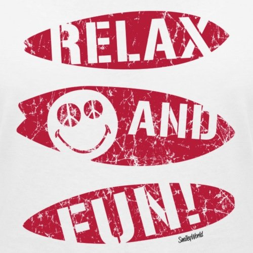 Smiley World Relax And Fun T-shirt col V Femme de Spreadshirt®‎ Blanc