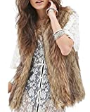 Minetom Damen Kunstpelz Weste Fellweste West Kunstfell Winterjacke Jacket Waistcoat Braun 38