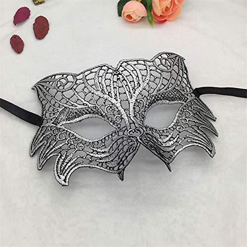 Silver Kostüm Wolf Maske - MASKUOY Halloween-Maske Mädchen Frauen Ball Spitze Maske Catwoman Maskerade Tanzparty Augenmaske Katze Halloween Kostüm
