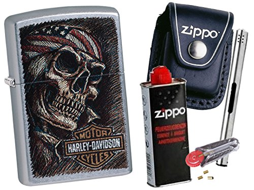 Zippo Harley Davidson Skull + Zippo POUCH mit Zippo Zubehör und L.B Chrome Stabfeuerzeug (mit CLIP Black Pouch) (Black Chrome Zippo)
