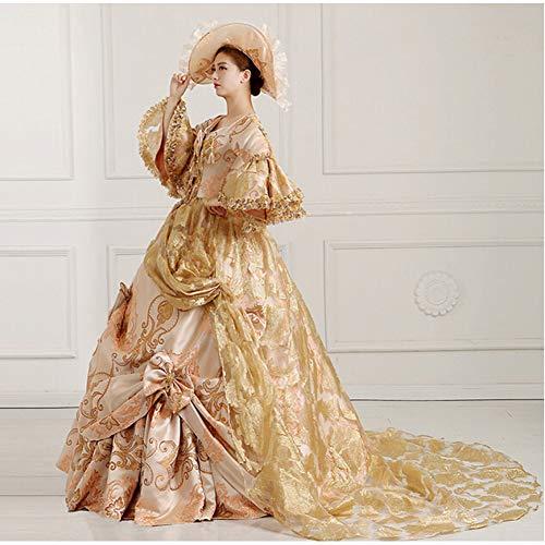 QAQBDBCKL Phantasie viktorianischen mittelalterlichen Renaissance Kostüm Kleid Theater Ballkleid mit Hut (Mittelalterliche Theater Kostüm)